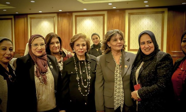 A group of the participants at the AWO seminar on mechanisms to fight violence against women, Ambassador Mervat Tallawy in the middle - Photo courtesy of AWO official Facebook page