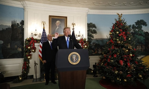 U.S. President Donald Trump gives a statement on Jerusalem, during which he recognized Jerusalem as the capital of Israel, in the Diplomatic Reception Room of the White House in Washington, U.S., December 6, 2017. REUTERS/Kevin Lamarque