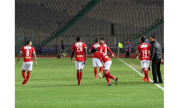 Soccer, Egyptian Premier League, 6-12-2017, Al Ahly players celebrate scoring against Alassiouty - Egypt Today/Ahmed Maarouf