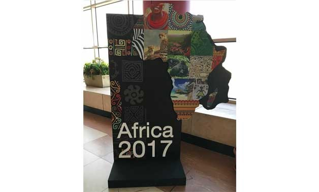 File- Banner of Africa 2017 Forum at Sharm El-Sheikh International Airport