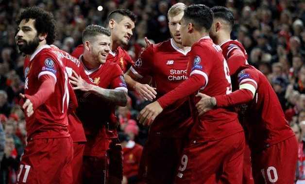 Soccer Football - Champions League - Liverpool vs Spartak Moscow - Anfield, Liverpool, Britain - December 6, 2017 Liverpool's Philippe Coutinho celebrates scoring their second goal with team mates Action Images via Reuters/Carl Recine