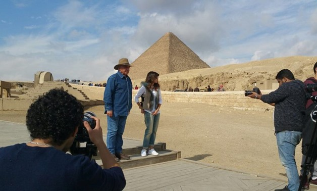Zahi Hawas and Eman El-Hossary during shooting the episode [Photo Courtesy: Zahi Hawas official Facebook page]