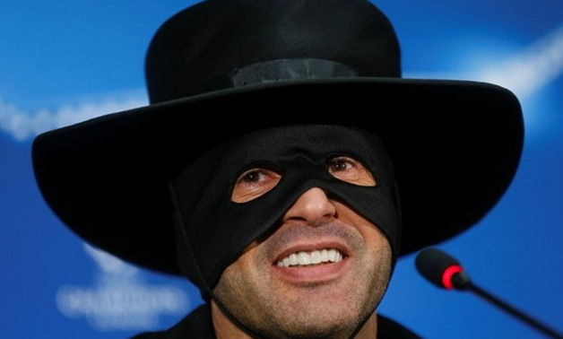 Shakhtar Donetsk v Manchester City - Champions League - Metalist Stadium, Kharkiv, Ukraine - December 7, 2017 Shakhtar Donetsk's coach Paulo Fonseca, dressed as Zorro, attends a news conference after the match. REUTERS/Valentyn Ogirenko