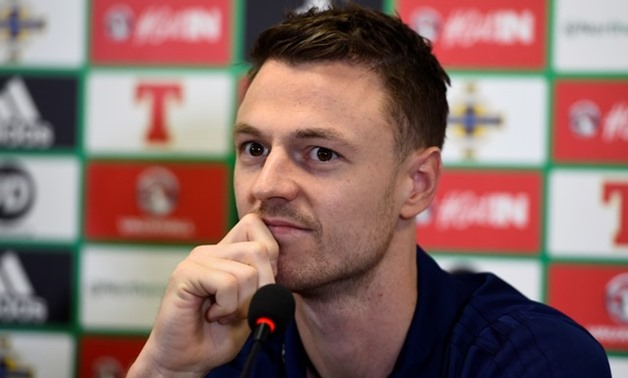 Soccer Football - 2018 World Cup Qualifications - Europe - Northern Ireland Press Conference - Belfast, Britain - November 8, 2017 Northern Ireland's Jonny Evans during the press conference - REUTERS/Clodagh Kilcoyne