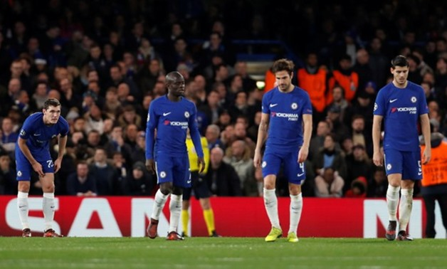 Soccer Football - Champions League - Chelsea vs Atletico Madrid - Stamford Bridge, London, Britain - December 5, 2017 Chelsea's N'Golo Kante, Cesc Fabregas and Alvaro Morata look dejected after conceding their first goal Action Images via Reuters/Paul Chi