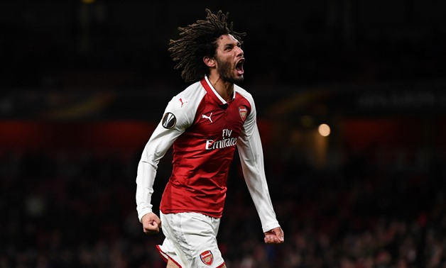 File- Europa League - Arsenal vs BATE Borisov - Emirates Stadium, London, Britain - December 7, 2017 Arsenal's Mohamed Elneny celebrates scoring their sixth goal - REUTERS/Dylan Martinez