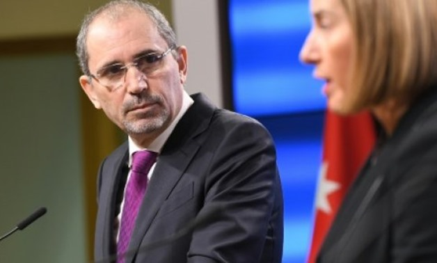 © AFP   Jordan's Foreign Minister Aymane Safadi, left, and EU foreign policy chief Federica Mogherini addressing the press in Brussels on Friday