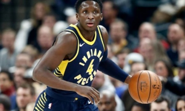 Victor Oladipo of the Indiana Pacers made six of 13 from beyond the arc as Indiana snapped the Cleveland Cavaliers' 13-game win streak with a 106-102 victory - AFP