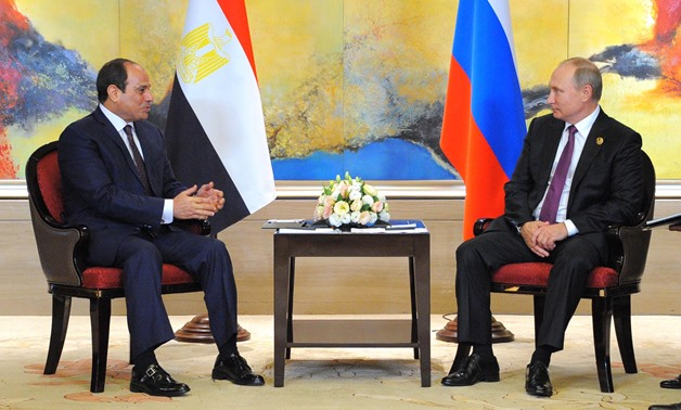 President Abdel Fatah al-Sisi Meets Russian President Vladimir Putin during the BRICS Summit in China on September 4, 2017 - Press Photo
