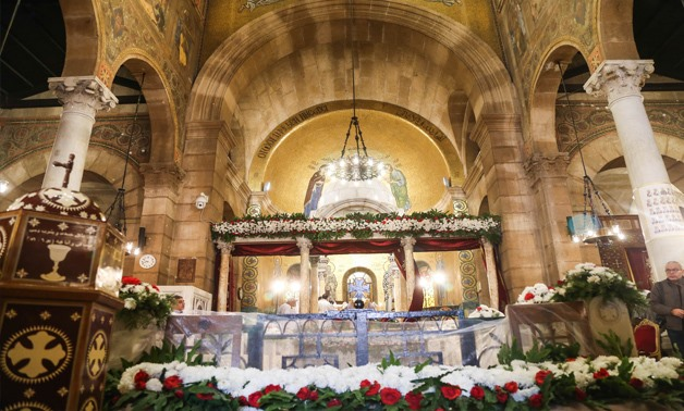 Christians gathered at Mass at St. Peter and St. Paul church attached to the St. Mark's Coptic Orthodox Cathedral to mark the first anniversary of the the church bombing, Dec.11, 2017-EgyptToday/ Mohamed El Hosary