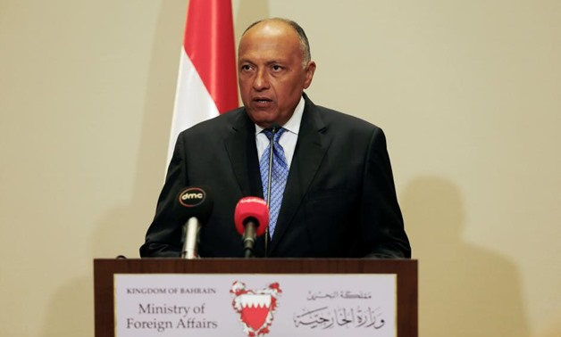 Egypt's Foreign Minister Sameh Shoukri speaks to media after the foreign ministers of Saudi Arabia, Bahrain, the United Arab Emirates and Egypt meeting to discuss their dispute with Qatar, in Manama, Bahrain July 30, 2017. REUTERS/Hamad I Mohammed