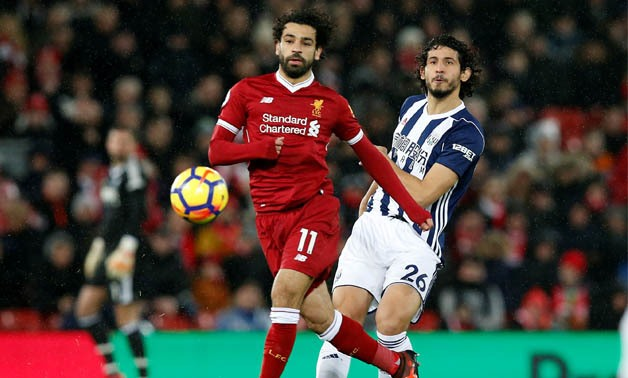 Soccer Football - Premier League - Liverpool vs West Bromwich Albion - Anfield, Liverpool, Britain - December 13, 2017 Liverpool's Mohamed Salah in action with West Bromwich Albion's Ahmed Hegazi REUTERS/Andrew Yates