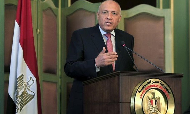 Egyptian Foreign Minister Sameh Shoukry speaks during a news conference after a meeting with his Italian counterpart Paolo Gentiloni at the foreign ministry in Cairo, Egypt, July 13, 2015 - REUTERS/Mohamed Abd El Ghany