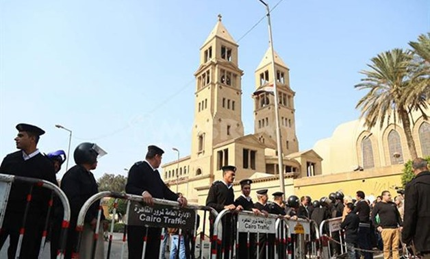 File - Security borders around a church in Egypt