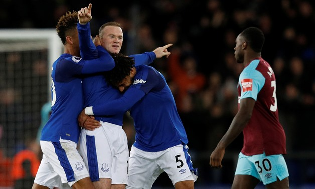 Soccer Football - Premier League - Everton vs West Ham United - Goodison Park, Liverpool, Britain - November 29, 2017 Everton's Wayne Rooney celebrates scoring their third goal to complete his hat-trick REUTERS/Phil Noble
