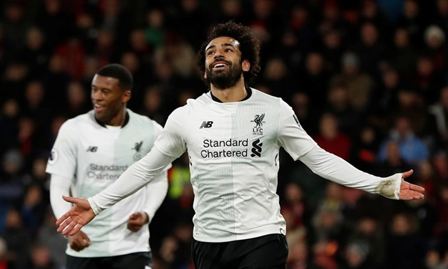 Soccer Football – Premier League – AFC Bournemouth vs. Liverpool – Vitality Stadium, Bournemouth, Britain – December 17, 2017 Liverpool's Mohamed Salah celebrates scoring their third goal – Action Images - Reuters/Paul Childs
