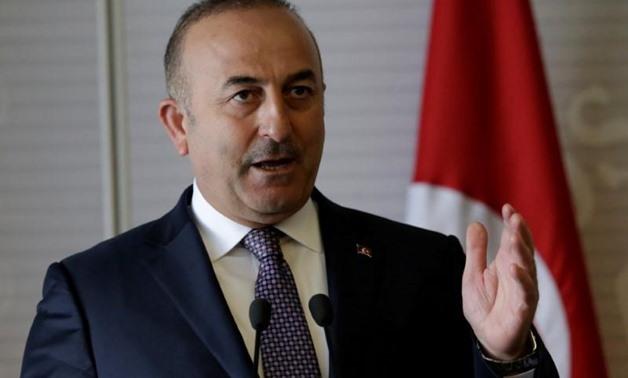 Turkish Foreign Minister Mevlut Cavusoglu gives a speech to the media at the foreign ministry building (SRE) in Mexico City, Mexico February 3, 2017. REUTERS/Henry Romer