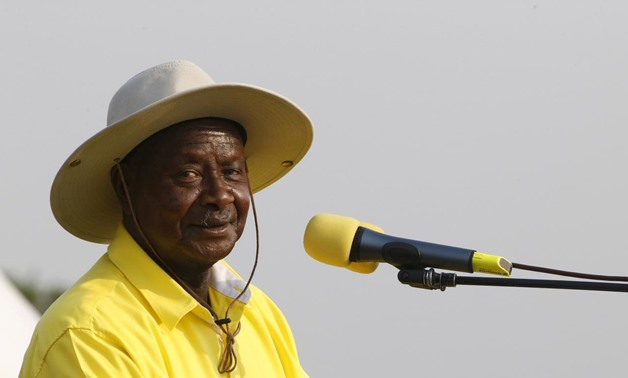 Uganda's President and ruling party National Resistance Movement (NRM) presidential candidate Yoweri Museveni speaks during a campaign rally in capital Kampala February 11, 2016 ahead of the February 18 presidential election. REUTERS/James Akena