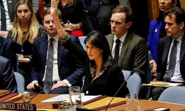 U.S. Ambassador to the United Nations Nikki Haley vetos an Egyptian-drafted resolution regarding recent decisions concerning the status of Jerusalem, during the United Nations Security Council meeting on the situation in the Middle East, including Palesti