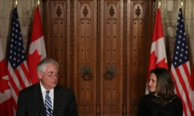 "© AFP | ""We believe a diplomatic solution to the crisis is essential and possible,"" Canadian Foreign Minister Chrystia Freeland (left) told a joint press conference with visiting US Secretary of State Rex Tillerson (right)"