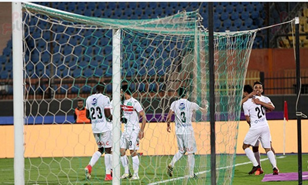 Soccer, Zamalek players celebrate scoring against Al Hedoud, Thursday, December 7, 2017 - Egypt Today/Amr Mostafa