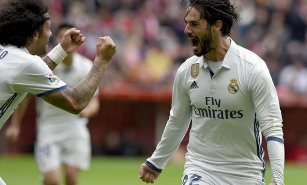 "Football Soccer- Spanish La Liga Santander - Sporting v Real Madrid - El Molinon Stadium, Gijon, Spain - 15/04/17 Real Madrid's Francisco ""Isco"" Alarcon (R) celebrates with team mate Marcelo after scoring a goal -