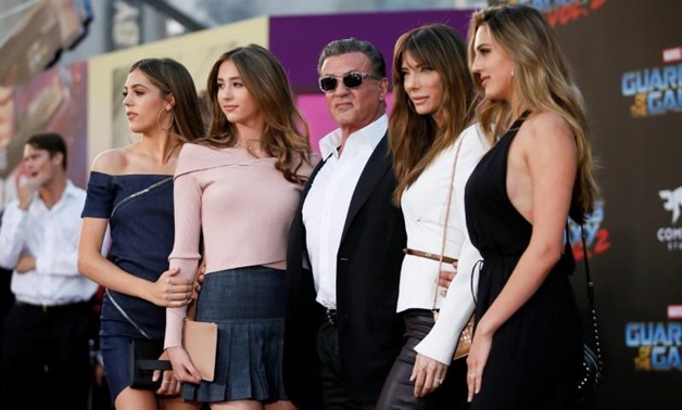 "Actor Sylvester Stallone (C) poses with his daughters and his wife Jennifer Stallone (2nd-R) at the world premiere of Marvel Studios' ""Guardians of the Galaxy Vol. 2."" in Hollywood, California, U.S. Wednesday, April 19, 2017 - REUTERS/Danny Moloshok"