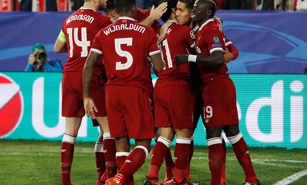 Soccer Football - Champions League - Sevilla vs Liverpool - Ramon Sanchez Pizjuan, Seville, Spain - November 21, 2017 Liverpool's Roberto Firmino celebrates scoring their first goal with Mohamed Salah, Sadio Mane and team mates Action Images via Reuters/M