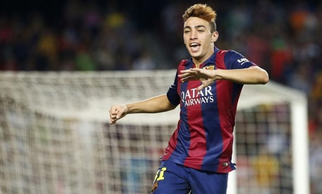 Barcelona's Munir El Haddadi celebrates his goal during the Spanish first division soccer match against Elche at Nou Camp stadium in Barcelona August 24, 2014 - REUTERS/Gustau Nacarin