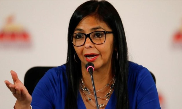 FILE PHOTO: Delcy Rodriguez, President of the National Constituent Assembly talks to the media during a news conference in Caracas, Venezuela August 28,
