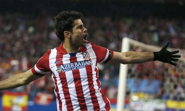 Diego Costa celebrates one of his goals with Atletico Madrid in 2014, Reuters