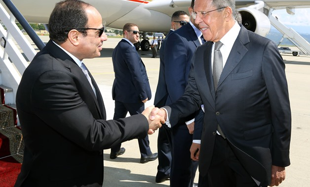 Russian Foreign Minister Sergey Lavrov receives President El Sisi in Russia on August 12, 2014- Press Photo