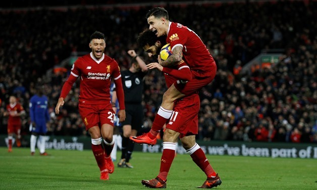 Soccer Football – Premier League – Liverpool vs Chelsea – Anfield, Liverpool, Britain – November 25, 2017, Liverpool's Mohamed Salah celebrates scoring their first goal with Philippe Coutinho and Alex Oxlade-Chamberlain – REUTERS/Phil Noble