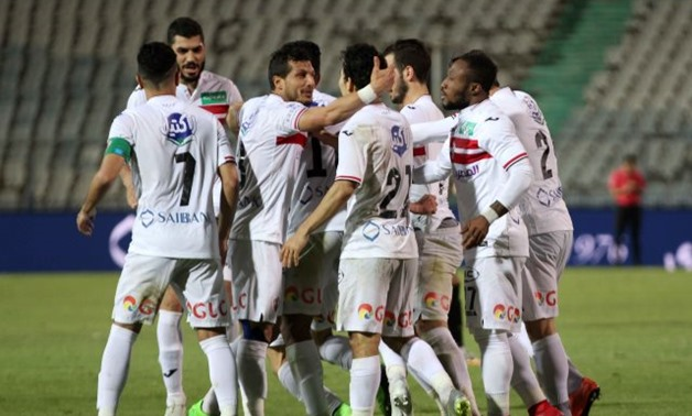 Zamalek players celebrating the first goal in the match, FILE