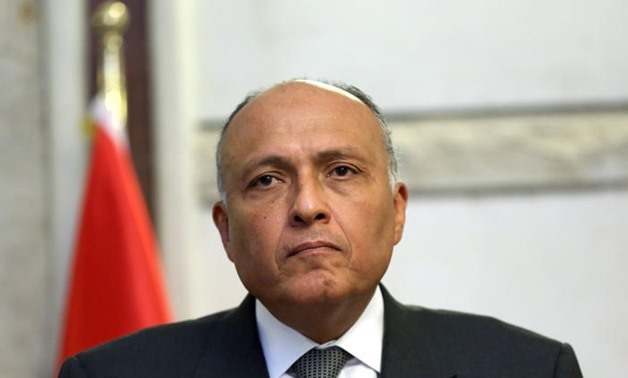 FILE - Egypt's minister of foreign affairs Sameh Shoukry
