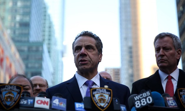 New York State Governor Andrew Cuomo speaks to the press near the Port Authority Bus Terminal in Manhattan, New York, U.S., December 11, 2017. REUTERS/Amr Alfiky