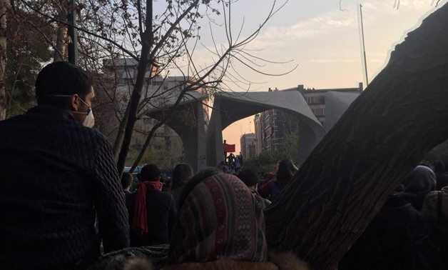 People protest near the university of Tehran, Iran December 30, 2017 in this picture obtained from social media. TWITTER/@kasra_nouri/via REUTERS. ""