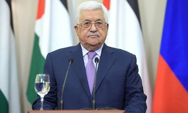 FILE – Palestinian President, Mahmoud Abbas, during his speech in his meeting with Russian President, Vladimir, Putin in Sochi, May 2017