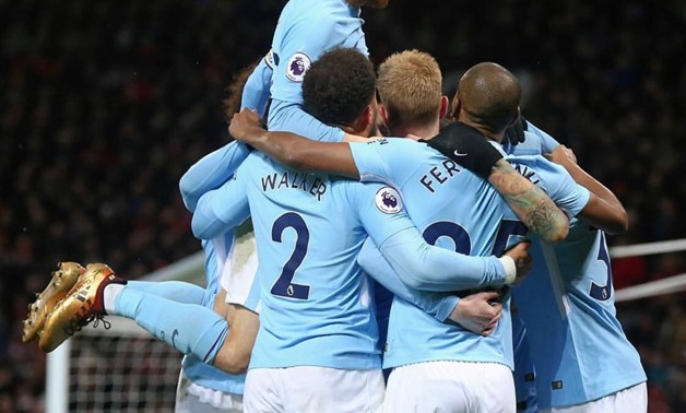Manchester City's David Silva celebrating with his teammates – Press image courtesy of Silva's official Twitter account