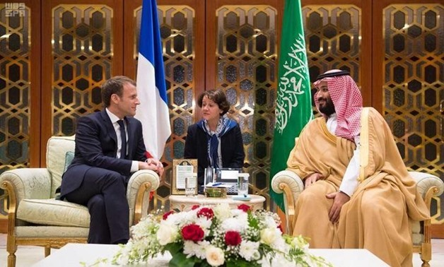 Saudi Crown Prince Mohammed bin Salman meets with French President Emmanuel Macron in Riyadh, Saudi Arabia, November 9, 2017. Picture taken November 9, 2017. Saudi Press Agency/Handout via REUTERS