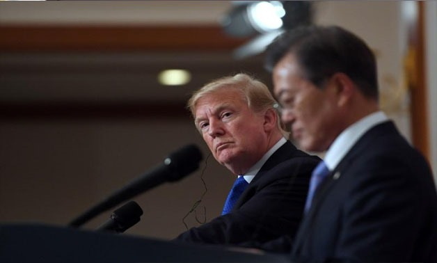 U.S. President Donald Trump and South Korea's President Moon Jae-in hold a joint press conference at the presidential Blue House in Seoul, South Korea, November 7, 2017 - REUTERS/Jung Yeon-Je/Pool/File photo