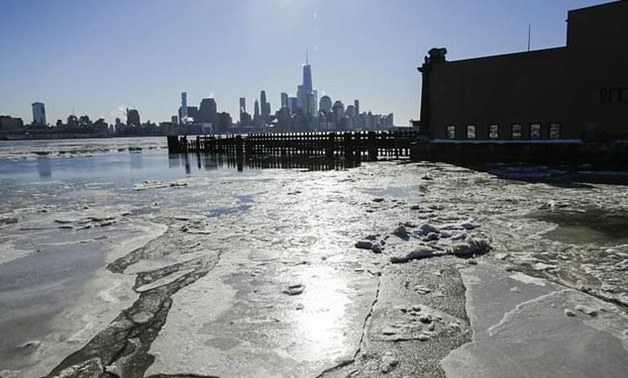 Ice floats along the Hudson River as New York shivers through record low temperatures - AFP