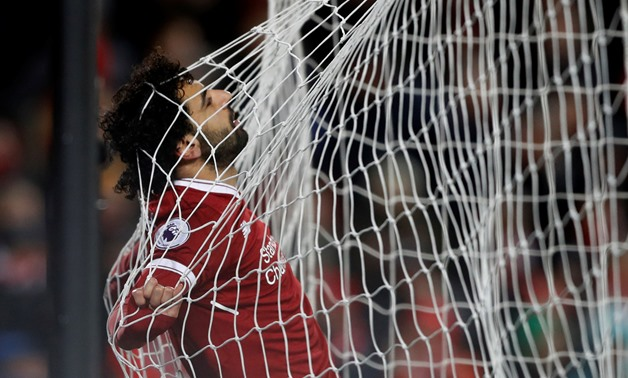Soccer Football - Premier League - Liverpool vs West Bromwich Albion - Anfield, Liverpool, Britain - December 13, 2017 Liverpool's Mohamed Salah in the net Action Images via Reuters/Carl Recine