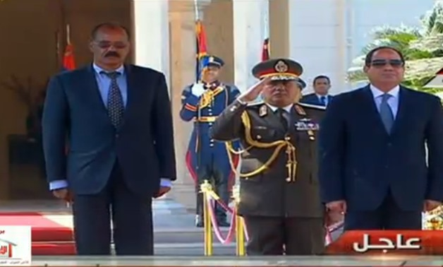 Screenshot of Extra News TV for the welcoming of the Eritrean President at the presidential palace in Cairo.