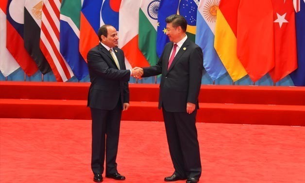 President Abdel Fatah al Sisi (L) and Chinese President Xi Jinping (R) during the G20 Summit meetings in Hangzhou, China, on September 4, 2016 - Press Photo