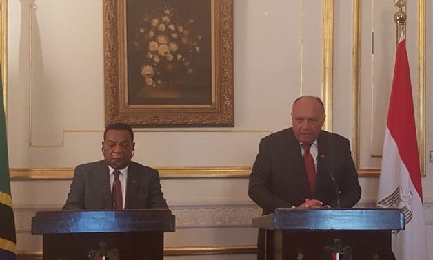 Tanzanian FM Augustine Mahiga with Egyptian counterpart Sameh Shoukry during press conference in Cairo January 10, 2018 – Press photo