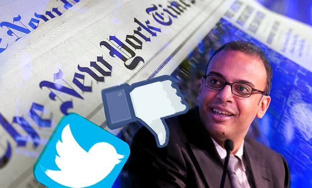 "Bahgat's tweet was not welcomed by his followers and most social media users, as Bahgat himself, despite being an ""investigative journalist"", did not check the accuracy of the NYT article – Photo compiled by Egypt Today/Mohamed Zain"