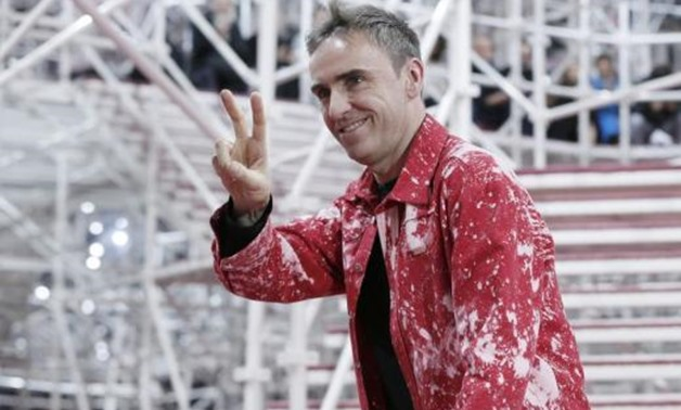 Belgian designer Raf Simons appears at the end of his Haute Couture Spring Summer 2015 fashion show for the French fashion house on January 26, 2015 04:19pm EST - GONZALO FUENTES
