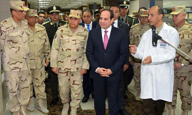 On Friday morning, President Abdel Fatah al-Sisi inaugurates the main stage of renovations of the Armed Forces Medical Complex at Maadi district, 12 January 2018 – Press Photo
