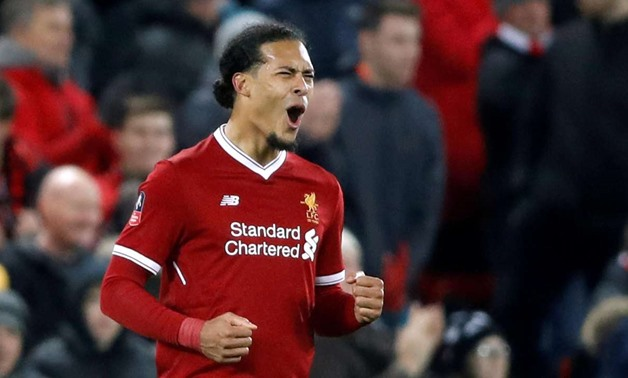 Soccer Football - FA Cup Third Round - Liverpool vs Everton - Anfield, Liverpool, Britain - January 5, 2018 Liverpool's Virgil van Dijk celebrates at the end of the match Action Images via Reuters/Carl Recine TPX IMAGES OF THE DAY